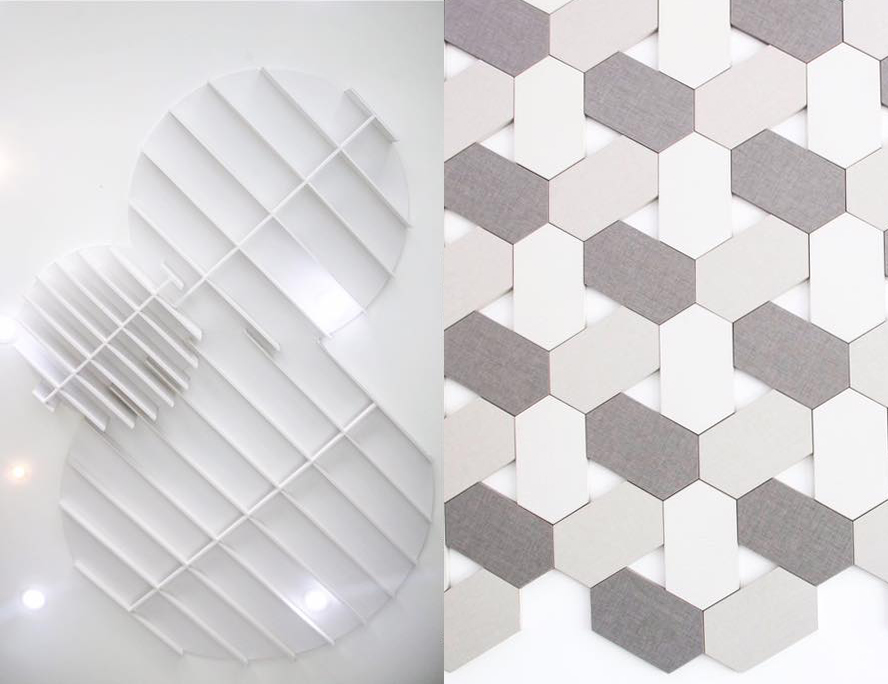Our laminates gallery features an array of fun and interesting ways our laminates can be used to spruce up any space, from modern ceiling art (pictured left) to lattice-patterned walls (pictured right)